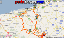 The route of the first stage of the 4 Jours de Dunkerque 2010 on Google Maps