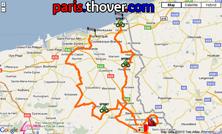 De kaart met het parcours van de eerste etappe van de 4 Jours de Dunkerque 2010 op Google Maps