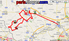 De kaart met het parcours van de derde etappe van de 4 Jours de Dunkerque 2010 op Google Maps
