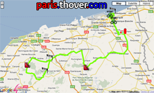 De kaart met het parcours van de vijfde etappe van de 4 Jours de Dunkerque 2010 op Google Maps