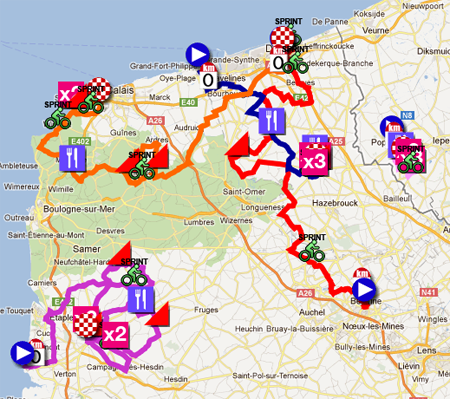 Download the 4 Jours de Dunkerque 2012 race route in Google Earth