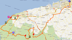 The map with the race route of the first stage of the 4 Jours de Dunkerque 2012 on Google Maps