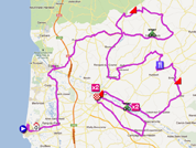 La carte du parcours de la deuxième étape des 4 Jours de Dunkerque 2012 sur Google Maps