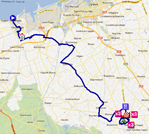 The map with the race route of the fourth stage of the 4 Jours de Dunkerque 2012 on Google Maps