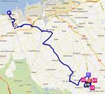 La carte du parcours de la quatrième étape des 4 Jours de Dunkerque 2012 sur Google Maps
