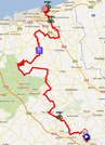 The map with the race route of the fifth stage of the 4 Jours de Dunkerque 2012 on Google Maps