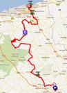 La carte du parcours de la cinquième étape des 4 Jours de Dunkerque 2012 sur Google Maps