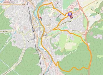La carte du parcours du circuit des Championnats de France de cyclisme sur route 2021 sur Open Street Maps