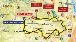 La carte de la première étape du Rhône Alpes Isère Tour (RAIT) 2011