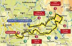 La carte de la deuxième étape du Rhône Alpes Isère Tour (RAIT) 2011