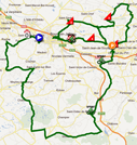 The map with the race route of the first stage of the Rhône Alpes Isère Tour 2012 on Google Maps