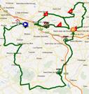De kaart met het parcours van de la eerste etappe van de Rhône Alpes Isère Tour 2012 sur Google Maps