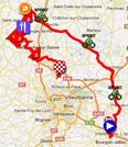 The map with the race route of the second stage of the Rhône Alpes Isère Tour 2012 on Google Maps