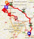 De kaart met het parcours van de la tweede etappe van de Rhône Alpes Isère Tour 2012 sur Google Maps
