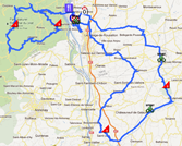The map with the race route of the third stage of the Rhône Alpes Isère Tour 2012 on Google Maps