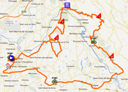 The map with the race route of the fourth stage of the Rhône Alpes Isère Tour 2012 on Google Maps