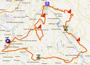 De kaart met het parcours van de la vierde etappe van de Rhône Alpes Isère Tour 2012 sur Google Maps