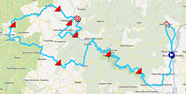 The map with the race route of La Classic Sud Ardèche 2013 on Google Maps