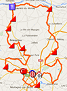 The map with the Cholet-Pays de Loire 2016 race route on Google Maps