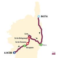 map with the race route of the Classica Corsica 2015