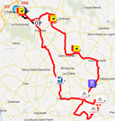 A map with the race route of the Classic de l'Indre 2012 on Google Maps