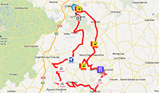 The map with the race route of the Classic de l'Indre 2013 sur Google Maps