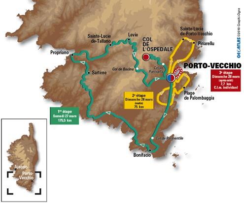 La carte du parcours du Critérium International 2010 - © A.S.O. / source letour.fr