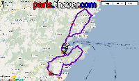 The map of the second stage's route of the Critérium International 2010 on Google Maps