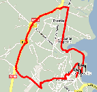 The map of the third stage's route of the Critérium International 2010 on Google Maps