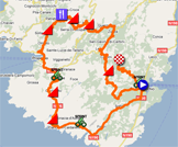 The race route of the first stage of the Crit�rium International 2011 on Google Maps