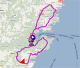The race route of the second stage of the Critérium International 2011 on Google Maps