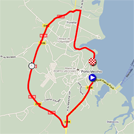 The race route of the third stage of the Crit�rium International 2011 on Google Maps
