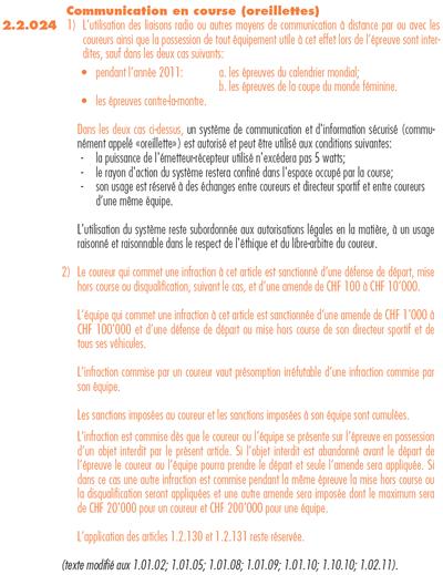 Article 2.2.024 du r�glement UCI