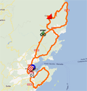 The race route of the first stage of the Critérium International 2012 on Google Maps