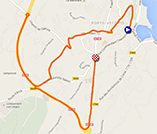 The map with the race route of the second stage of the Critérium International 2014 on Google Maps