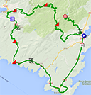 The map with the race route of the third stage of the Critérium International 2014 on Google Maps