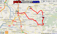 The route map of the third stage of the Critérium du Dauphiné 2010 on Google Maps