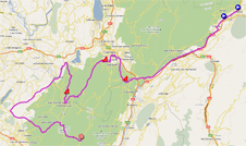 The race route of the first stage of the Critérium du Dauphiné 2011 on Google Maps