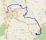 The race route of the second stage of the Critérium du Dauphiné 2011 on Google Maps