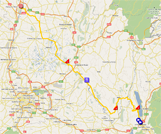 The race route of the fourth stage of the Critérium du Dauphiné 2011 on Google Maps