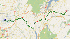 The race route of the fifth stage of the Critérium du Dauphiné 2011 on Google Maps