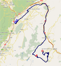 The race route of the seventh stage of the Critérium du Dauphiné 2011 on Google Maps