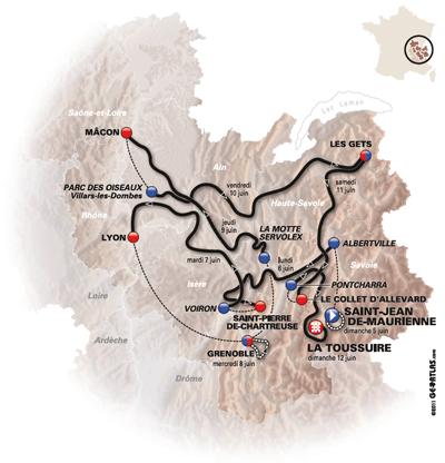 Le parcours du Critérium du Dauphiné 2011