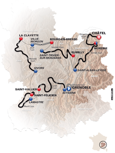 De kaart van het Critérium du Dauphiné 2012