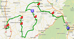 The race route of the first stage of the Critérium du Dauphiné 2012 on Google Maps