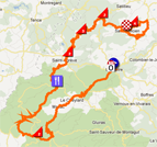 The race route of the second stage of the Critérium du Dauphiné 2012 on Google Maps