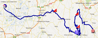 The race route of the fifth stage of the Critérium du Dauphiné 2012 on Google Maps