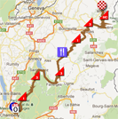 The race route of the sixth stage of the Critérium du Dauphiné 2012 on Google Maps
