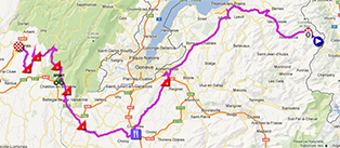 The race route of the second stage of the Critérium du Dauphiné 2013 on Google Maps