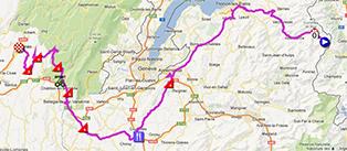 De kaart met het parcours van de tweede etappe van het Critérium du Dauphiné 2013 op Google Maps